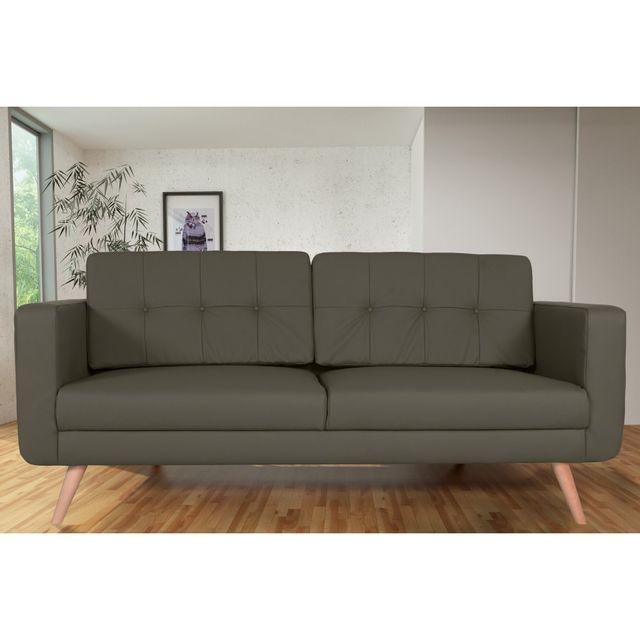 Rocambolesk Canapé fixe Hedvig 3 Pu Soft 24 Taupe sofa divan
