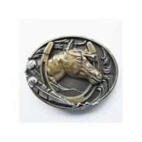 Universel - Boucle de ceinture tete de cheval dans un fer country doré