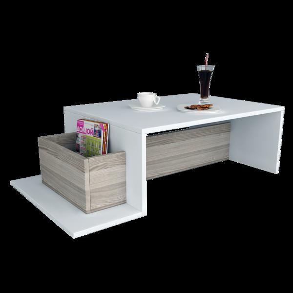 Alphamoebel Table basse Pot blanc-cordoba 106,8x31,8x60 cm