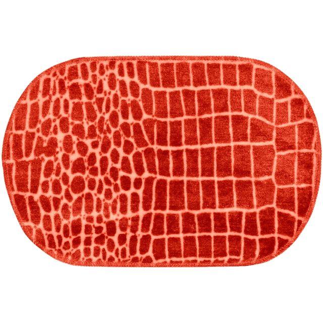 promobo - tapis de salle de bain design croco animal flashy rouge
