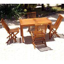 Wood En Stock - salon 4 places en teck huilé - table 120 x 70 cm