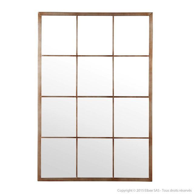 House Bay Miroir fenêtre rectangulaire 12 carreaux en métal gris/rouille 80x120cm Bengkel