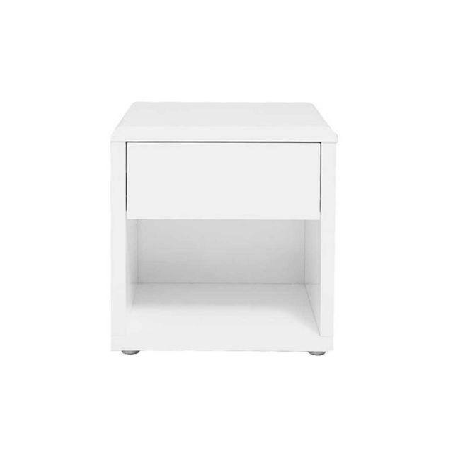 Miliboo Table de chevet design laquée blanche Elio