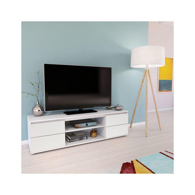No Name Meuble Tv / Vidéo Como 140 cm 2 portes + 1 niche / Blanc