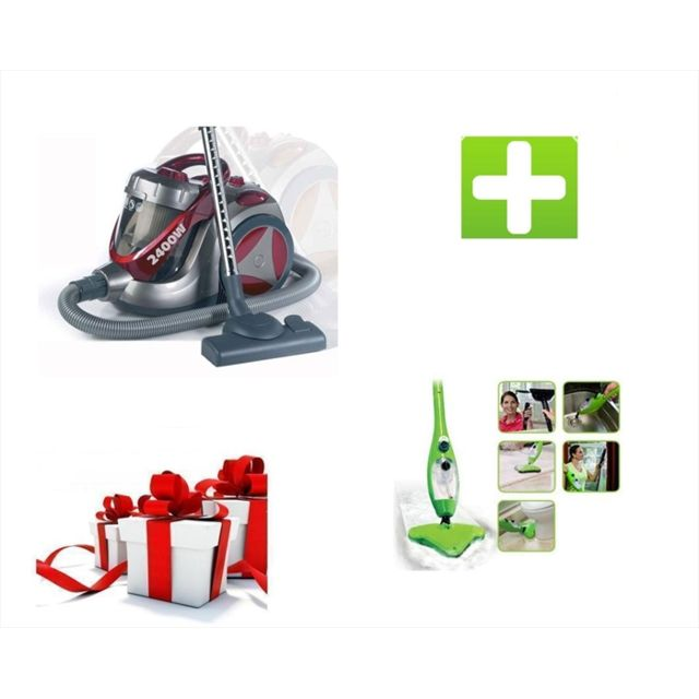 klaiser le pack propret aspirateur cyclone sans sac xl 2400w balai vapeur mop vert 5 en 1. Black Bedroom Furniture Sets. Home Design Ideas