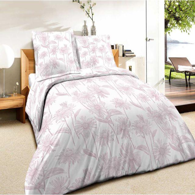 best interior parure de draps 100 coton daisy rose drap housse 140x190cm pas cher achat. Black Bedroom Furniture Sets. Home Design Ideas