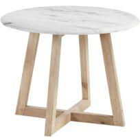 Table d\'appoint design avec pieds en bois de manguier massif et plateau en  marbre C-Busque