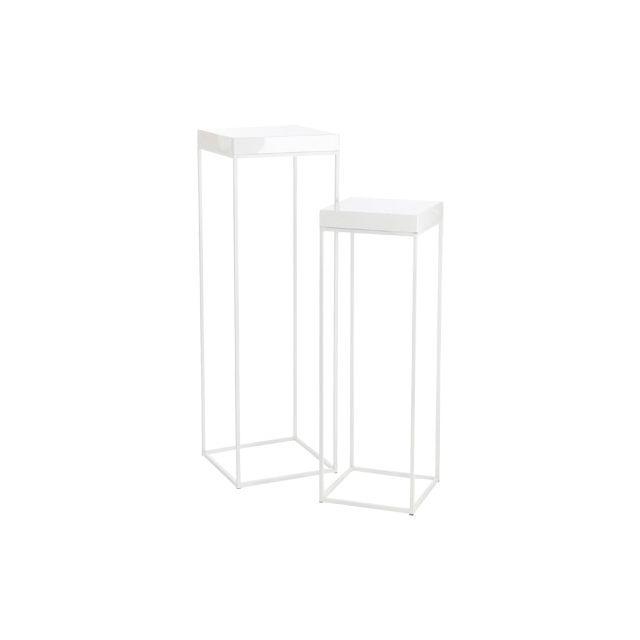 Set de 2 tables gigognes carrées en métal blanc