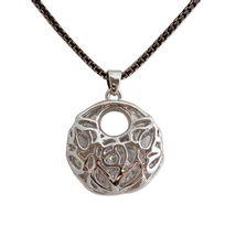 Totalcadeau - Collier moderne noir et or avec pendentif argenté et cristaux bijou fantaisie pas cher pendentif