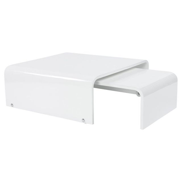 Alterego Table basse de salon extensible 'TWIST' design blanche