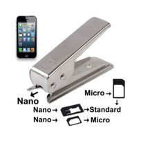 Mobility Gear - Découpeur de carte Sim vers Micro Sim ou Nano Sim -argent