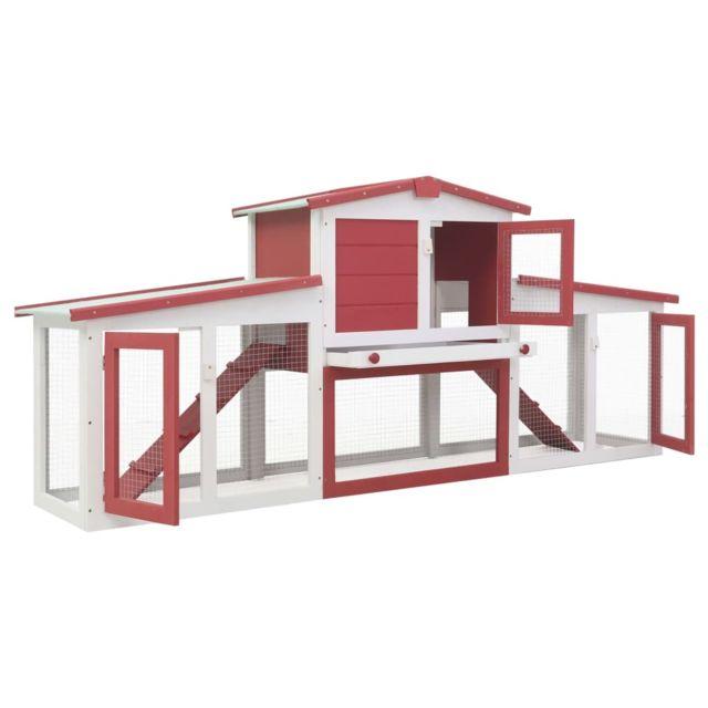 Icaverne Abris et cages pour petits animaux selection Clapier large d'extérieur Rouge et blanc 204x45x85 cm Bois