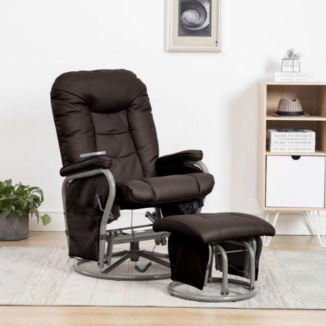 Superbe Fauteuils et chaises collection Tokyo Fauteuil de massage avec repose-pied Marron Similicuir