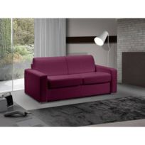 Inside 75 - Canapé lit 3 places Master convertible ouverture Rapido 140 cm Tweed Cross fushia Matelas 18 Cm Inclus