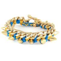 Blue Pearls - Ettika - Bracelet Spikes en Or Jaune et Coton Rubans Tressés Bleus - Etk 0101 Bleu