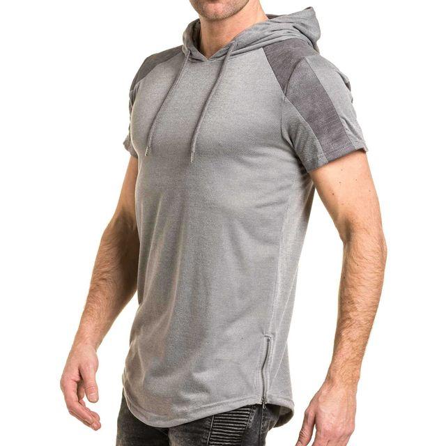 Gov Denim - Tshirt oversize à capuche gris effet daim homme - pas ... 7f601dbb881