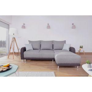BOBOCHIC Canapé Design Dangle Réversible Minty En Tissu Gris - Canapé design gris