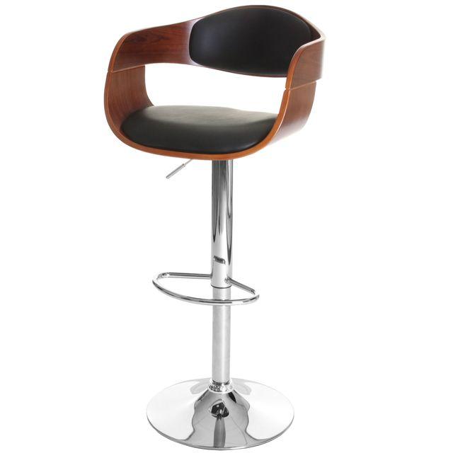 Mendler Tabouret de bar Carlow, chaise de bar, bois courbé design rétro ~ aspect noix, noir