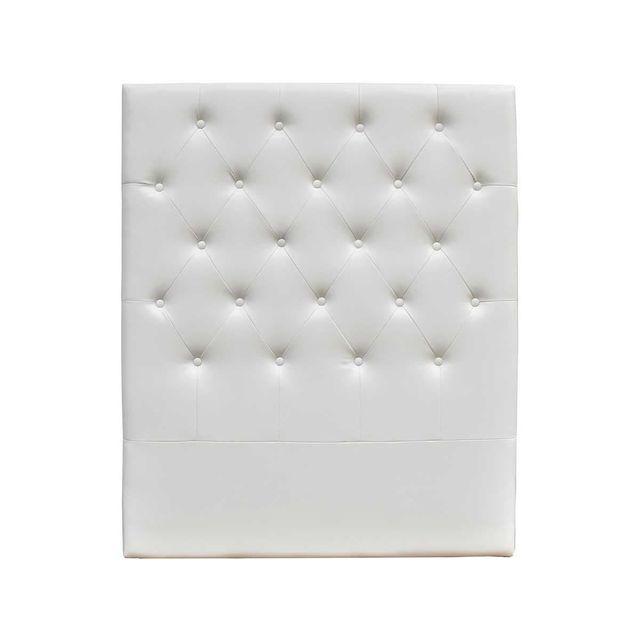 HABITAT ET JARDIN TETE DE LIT CAPITONNEE 90 CM DECO EN PVC - BLANC