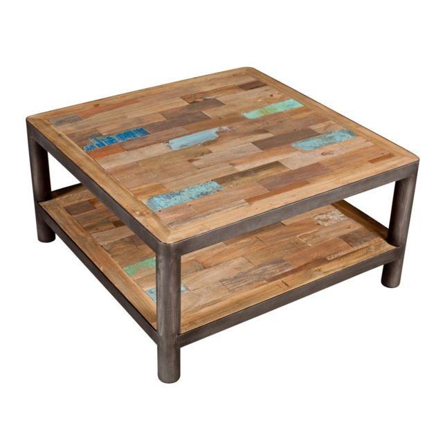 Tousmesmeubles Table basse carrée 2 plateaux - Modernity