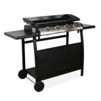 ALICE'S GARDEN - Plancha au gaz 4 brûleurs sur chariot - Porthos - 10kW, plancha à gaz avec desserte , cuisine extérieure, plaque émaillée, inox, barbecue