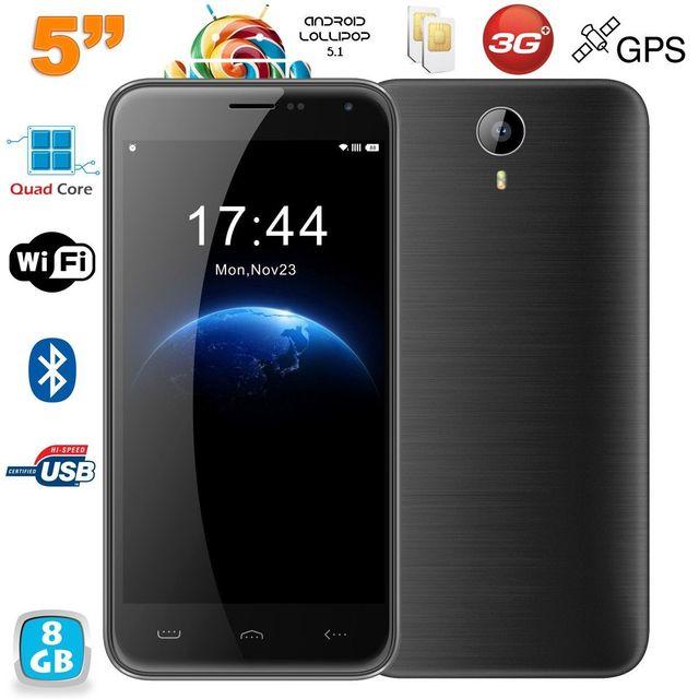 Yonis Smartphone Double Sim Android Lollipop 5 pouces 8Go Quad Core Noir