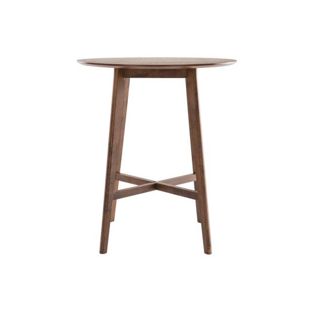 Miliboo Table de bar design ronde bois noyer Demory