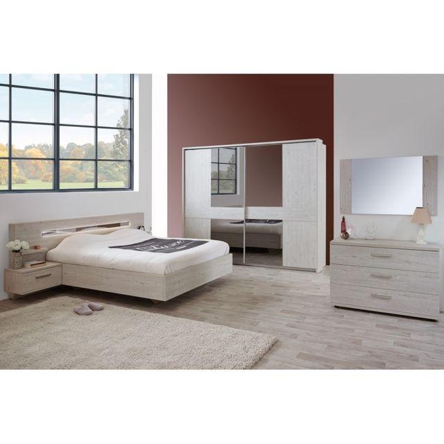 Tousmesmeubles Chambre Adulte Complète Dulce N Bois - Lit 160x200 chene gris