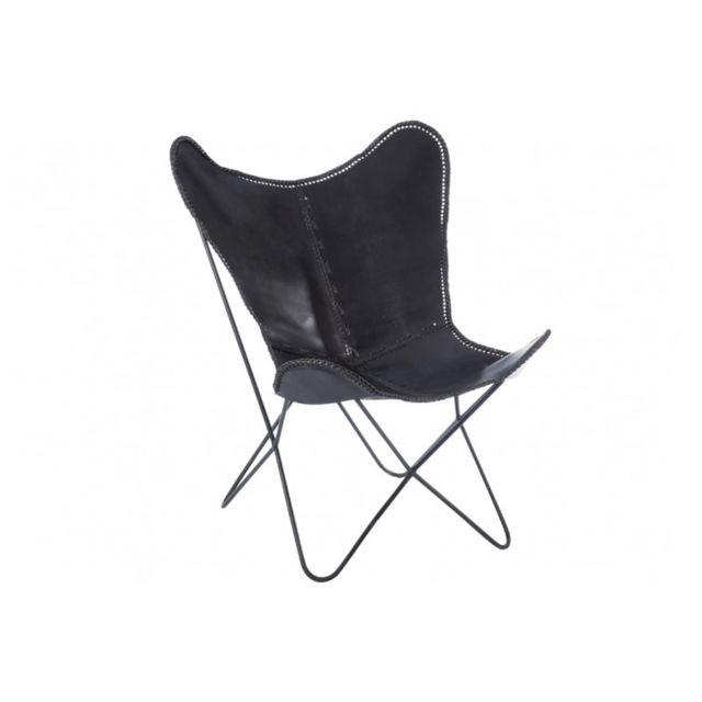 Jline Jolipa - Chaise lounge en cuir et métal noir 75x87x86cm