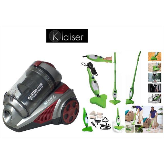 klaiser pack aspirateur sans sac multi cyclone alligator xtreme force pure air balai vapeur. Black Bedroom Furniture Sets. Home Design Ideas