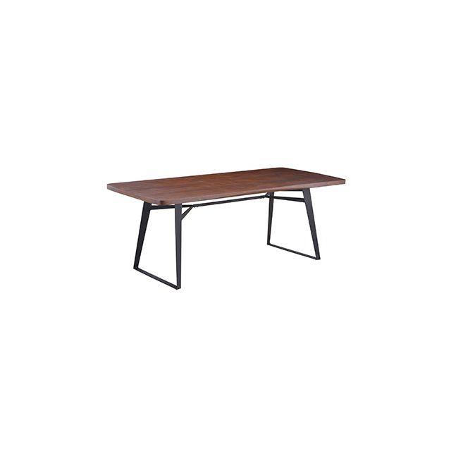 Table repas plateau bois finition chêne foncé pieds métal