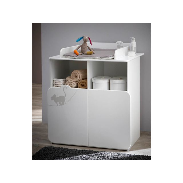 habitat et jardin commode table langer kitty 87 x 73 x 101 cm blanc pas cher achat. Black Bedroom Furniture Sets. Home Design Ideas