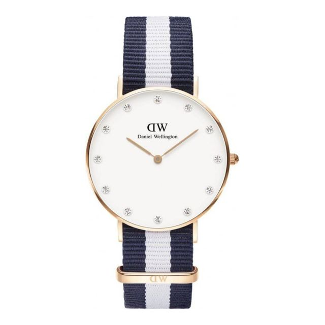 Femme Dw00100078 Glasgow Et Montre Classy Bracelet Tissu Bleu Blanc n08wOkP