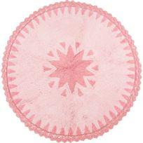 Nattiot - Tapis Warren rose rond avec dentelles pour Chambre bébé fille par - Couleur - Rose, Taille - 110 x 110 cm