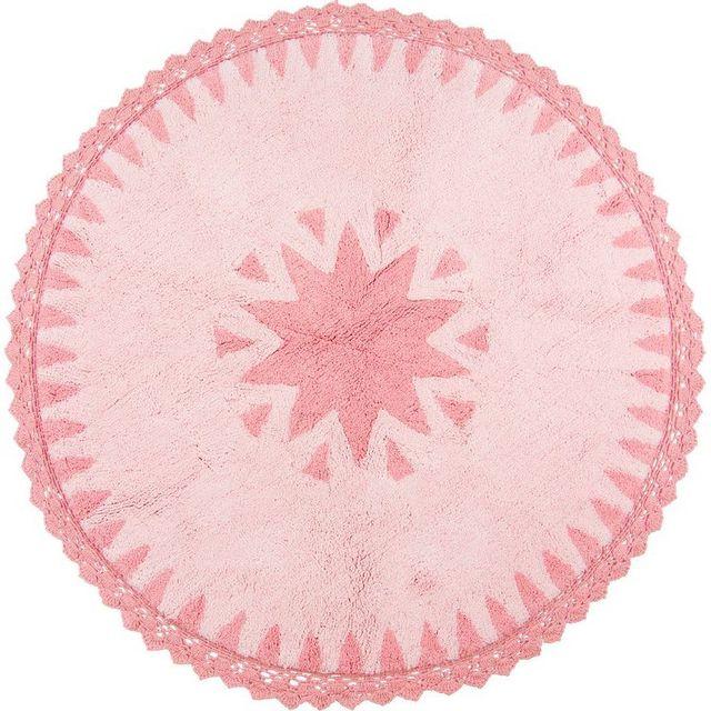 Nattiot tapis warren rose rond avec dentelles pour chambre bébé fille par couleur