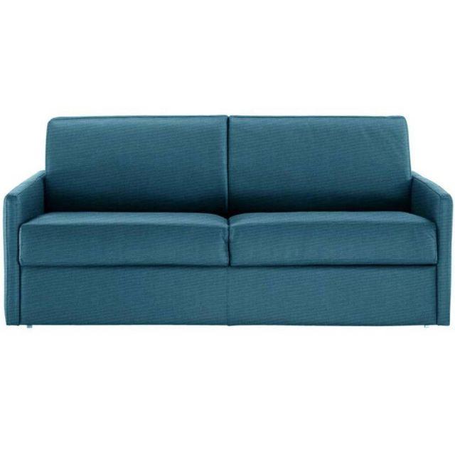 INSIDE 75 Canapé lit rapido SUN ELITE tweed turquoise sommier lattes 140cm assises et matelas 16cm mémoire de forme