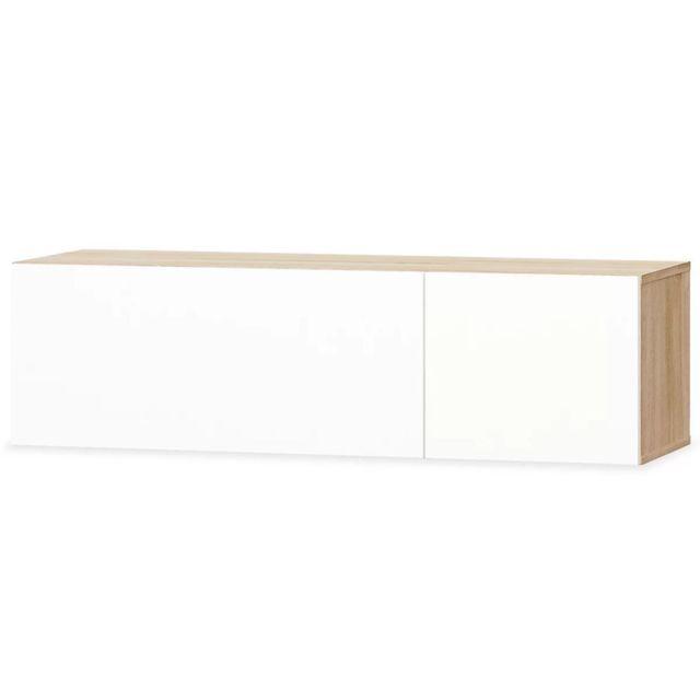 Helloshop26 Meuble télé buffet tv télévision design pratique aggloméré 120 cm chêne et blanc brillant 2502090