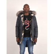 Parka en coton fourrure colorée Homme Paris, Taille: XXL, Couleur: Gris clair