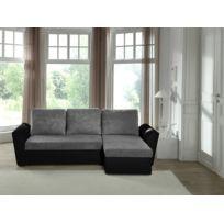 Modern Sofa - Canapé d'angle convertible gris-noir Neptun