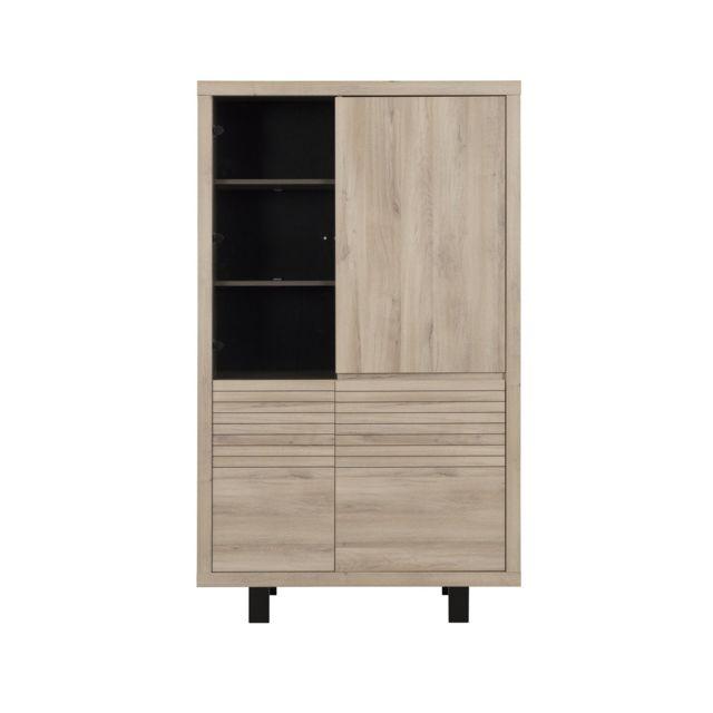 Calicosy Buffet vaisselier haut 4 portes chêne - fabrication française