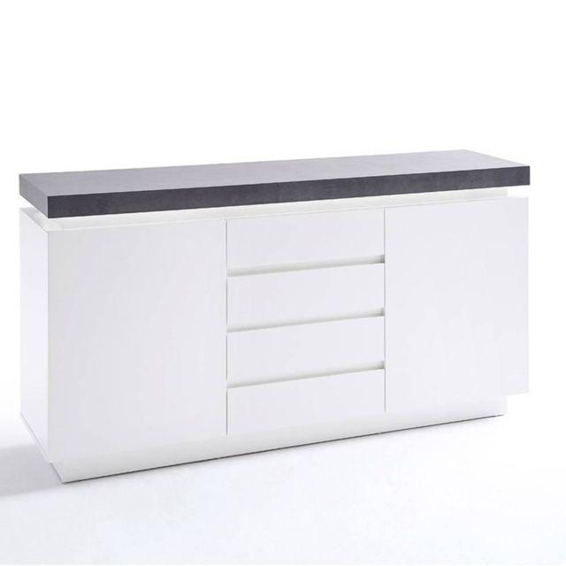 Inside 75 Buffet Atlantis laqué blanc mat et béton 2 portes 4 tiroirs Led blanc inclus