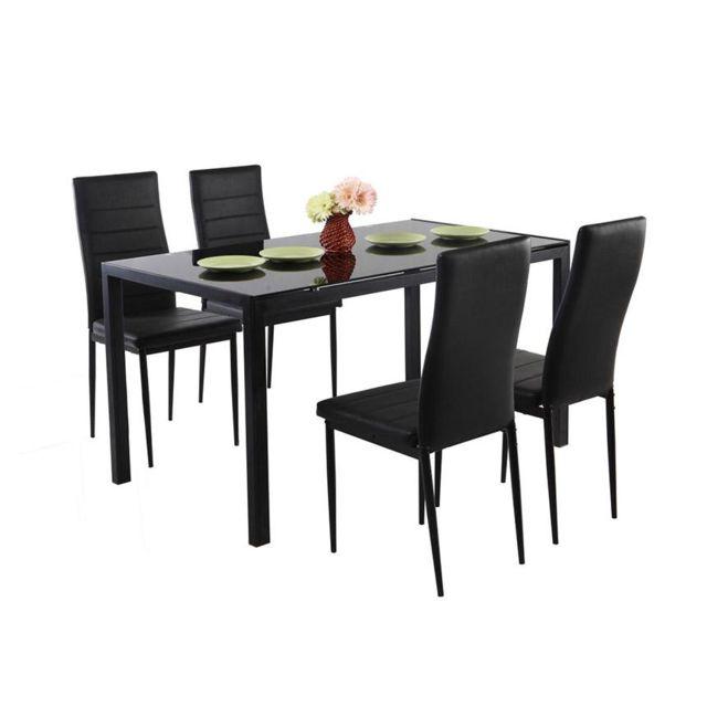Envie De Meubles Table repas avec 4 chaises noires Babel