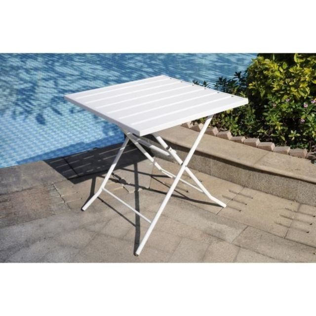 Finlandek Table bistrot de jardin 70x70 cm acier blanc - Mukava ...
