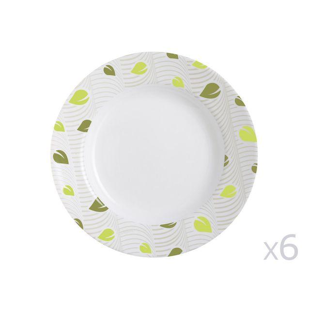 Luminarc Assiette creuse en verre ronde feuilles blanc/vert D.22cm - Lot de 6 Amely