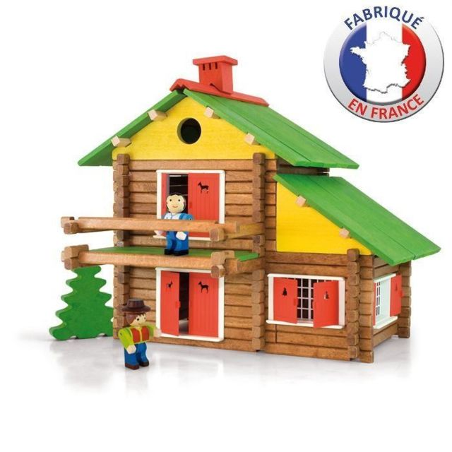 JEU D'ASSEMBLAGE - JEU DE CONSTRUCTION - JEU DE MANIPULATION - Construction en bois - Mon Chalet en Bois 175 pieces