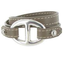 Les Poulettes Bijoux - Bracelet Double Tour Cuir et Maille Marine Argent  925 - Classics - fc80d3ecbfe1