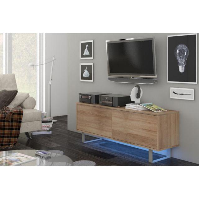 Vivaldi King 1 Meuble Tv Design coloris chêne sonoma. Eclairage à la Led bleue