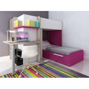 vente unique lits superpos s samuel 2x90x190cm bureau int gr pin blanc et rose pas. Black Bedroom Furniture Sets. Home Design Ideas