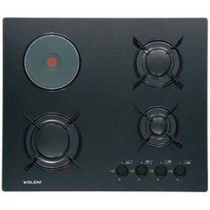 glem table cuisson mixte gaz electrique verre gv647bk gv 647 bk noir achat plaque de cuisson. Black Bedroom Furniture Sets. Home Design Ideas