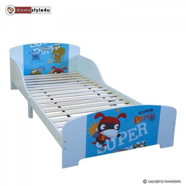 Homestyle4U Lit simple Bleu 90x200 Super Chiot